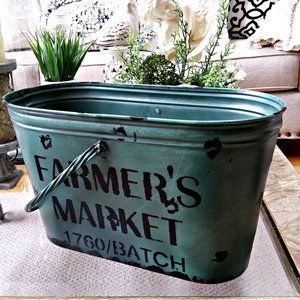 FARMHOUSE Cottage LARGE Metal HANDLED Pail